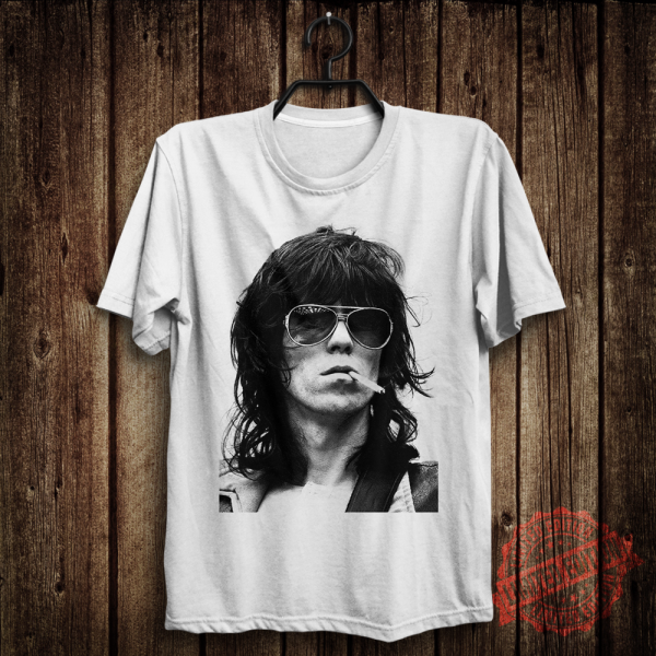 Keith Richards The Rolling Stones Rock Band Mens Womens White T-Shirt Size S-5XL