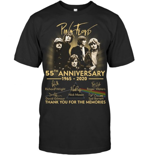 Pink Floyd 55th Anniversary 1965-2020 Signatures Mens Black T-Shirt Size S-5XL