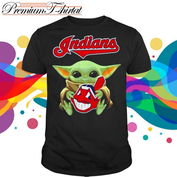 Baby Yoda Hug Cleveland Indians Unisex T-Shirt Sizes S-5XL