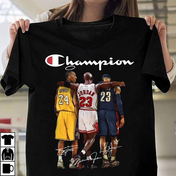 Kobe Bryant Michael Jordan and LeBron James Champion Unisex T-Shirt Plus Sizes S-5XL