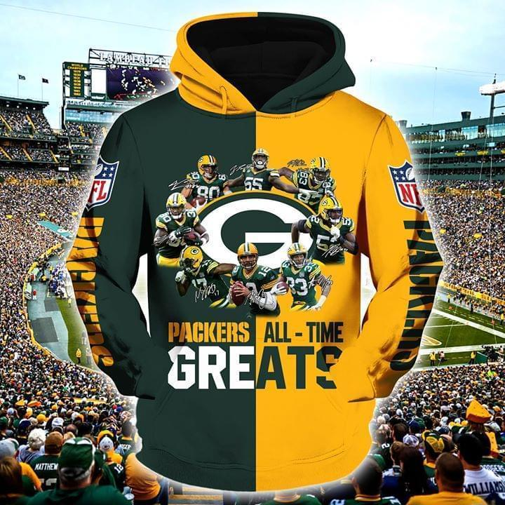 Green Bay Packers All Time Greats Players Signatures 3d Printed Hoodie 3d 3d Graphic Printed Tshirt Hoodie Size S-5XL