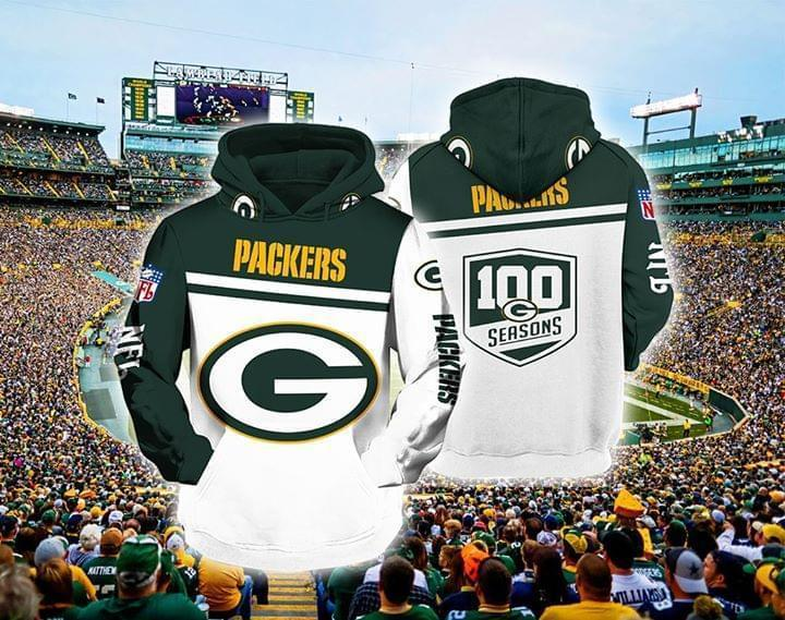 Green Bay Packers Nfl 100 Seasons For Packers Fan 3d Printed Hoodie 3d 3d Graphic Printed Tshirt Hoodie Size S-5XL