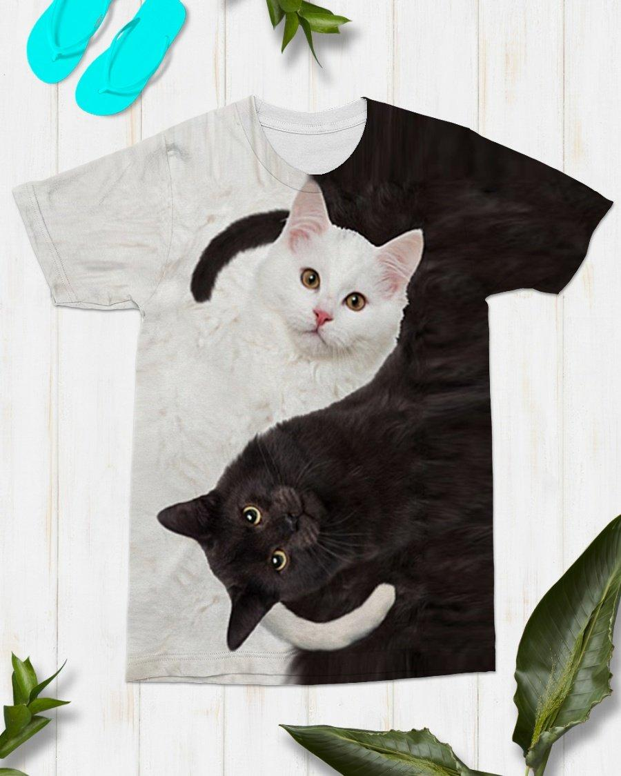 Yin Yang Cat Full 3d 3d Graphic Printed Tshirt Hoodie Size S-5XL